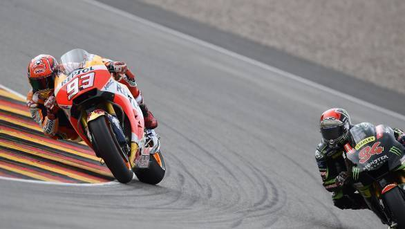 Marquez leads from home hero Jonas Folger at Sachsenring