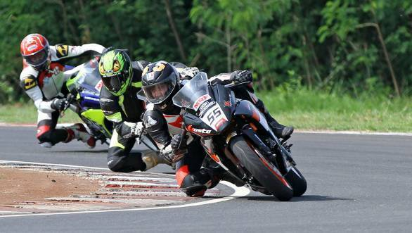 Amarnath Menon's win in the second Super Sport Indian 300-400 cc race was his fifth win of six races this season