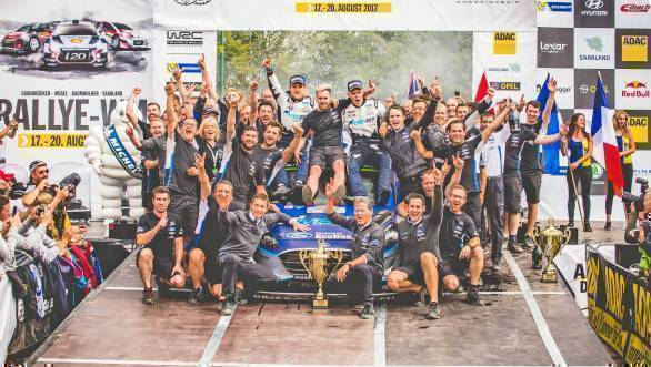 The M-Sport team celebrates their win at Rally Germany