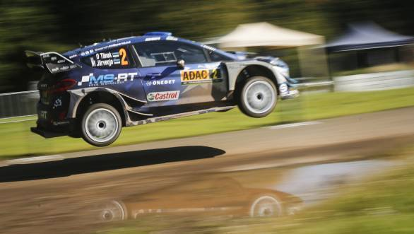 Ott Tanak en route victory at the 2017 Rally of Germany