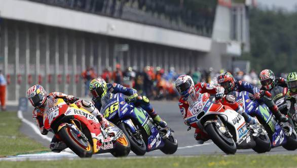 Marc Marquez leads the pack into the first corner at Brno