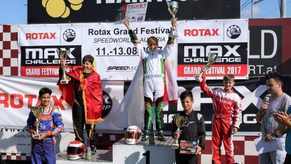 Shahan, in fourth place, with the top five finishers at the Rotax