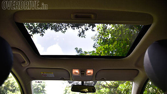 An optional sunroof is available on the top-spec Hyundai Verna