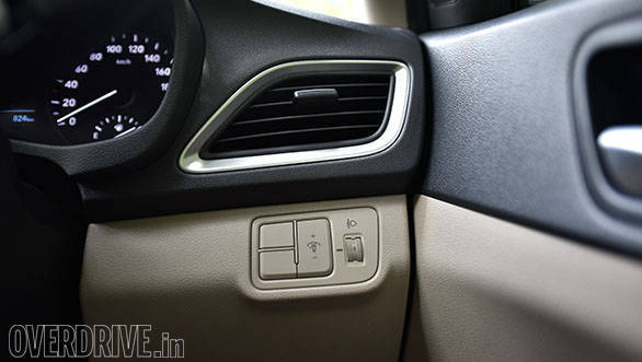 There are brushed aluminium outlines to the air vents of the new Hyundai Verna
