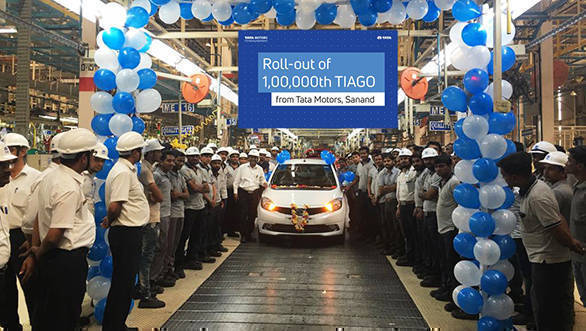 Tata Motors Tiago 1,00,000 unit rolled out from Sanand facility