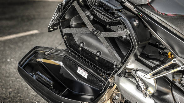 2018 Ducati Multistrada 1260 S Rear footpeg and pannier detail