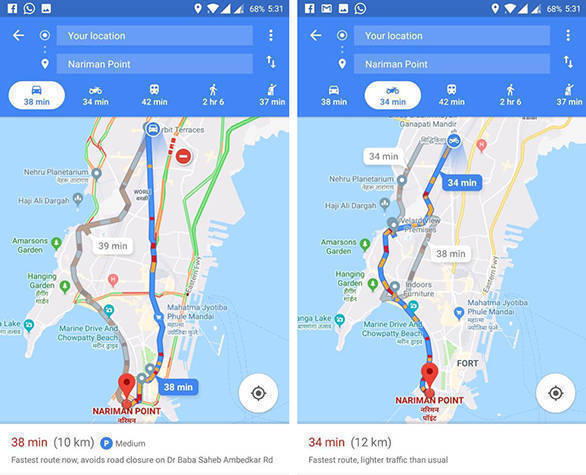 Google Maps Motorcycle Mode Launched in India for 2 Wheeler