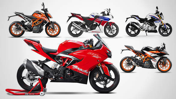 Spec comparison: TVS Apache RR 310 vs KTM RC 390 vs KTM 390 Duke vs BMW G 310 R vs Honda CBR 300R (USA)