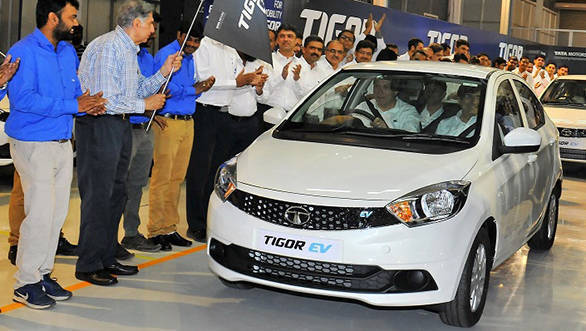Tata Tigor electric rolled out of the Sanand plant in India