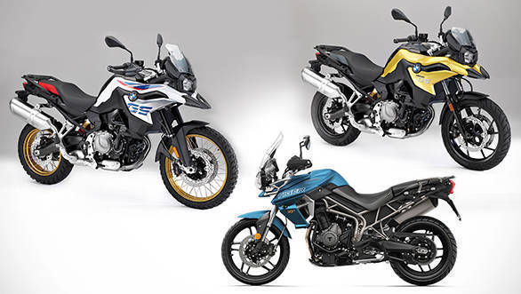 Spec Comparo 2018 Triumph Tiger 800 Vs 2018 Bmw F850 Gs Vs 2018 Bmw F750 Gs Overdrive