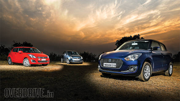 Three generations of the Maruti Suzuki Swift compared