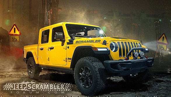 Jeep Wrangler based pick-up truck rendered, might be called Scrambler