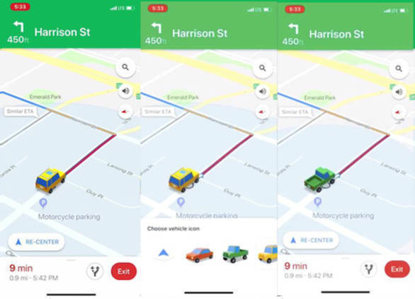 Google Maps now allows iOS users to change vehicle icons ... on google messenger ios, google drive ios, google app ios, bloons td 5 ios, bing ios, nokia maps ios, real racing 3 ios, apple maps ios,