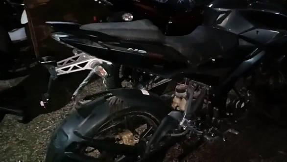 Bajaj Pulsar NS160 with rear disc brakes spotted at dealership