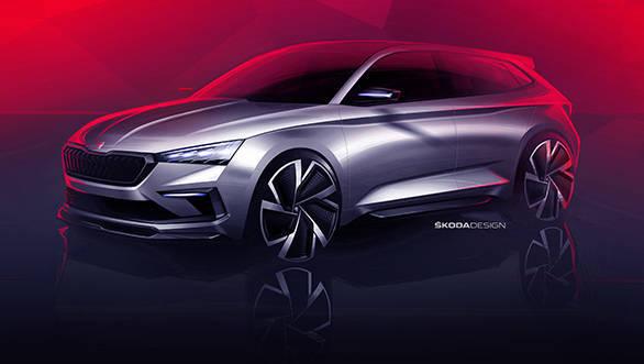 Skoda Vision RS compact car sketches reveal design before 2018 Paris Motor Show debut