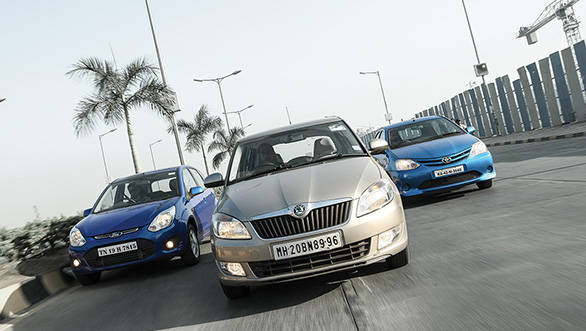 The Fabia has the stiffest suspension followed by the Liva and then the Figo