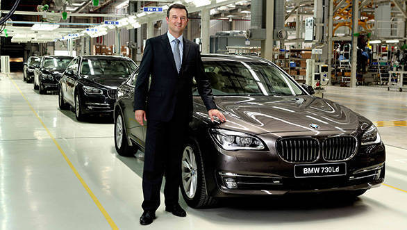 Robert Frittrang, MD BMW plant in Chennai with the locally produced 7 Series