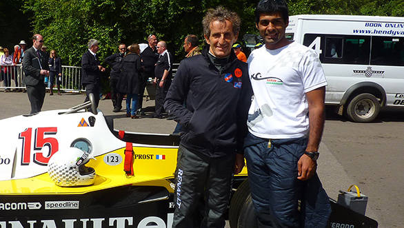Karun Chandhok with Alain Prost