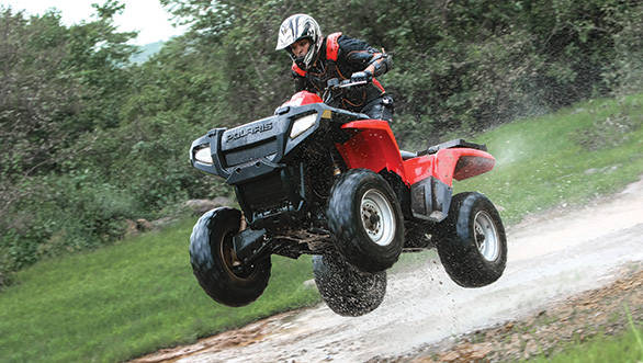 The Polaris Sportsman can get some serious air if you have the courage for it