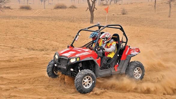 Raj Singh Rathore driving his RZR 800 at the Desert Storm 2013