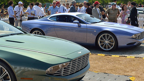 The green open-top DB9 centennial special is based on Aston Martin DB9 Volante
