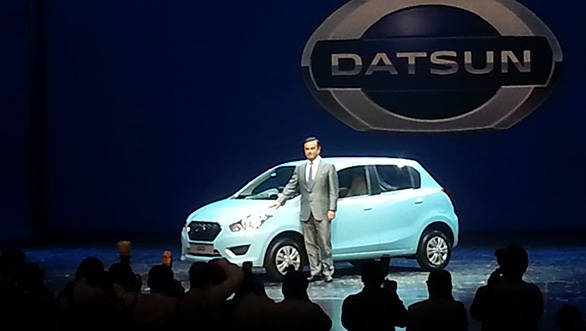 Carlos Ghosn with the new Datsun GO