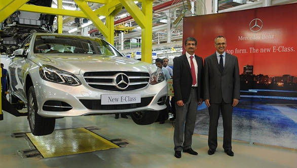 Mercedes officials with the new E-Class at the Chakan plant