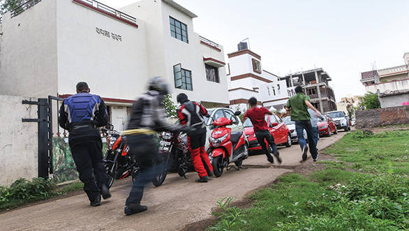 In typical Le Mans style, we all scurried for our bikes and cars