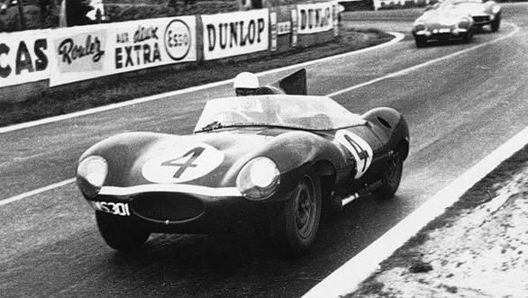 The Jaguard D-type at Le Mans in 1956
