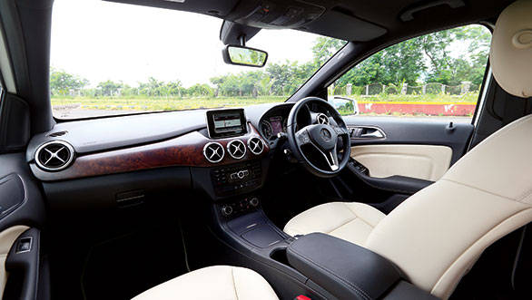 The diesel B gets dual tone interiors with faux wood detailing to differentiate it from its petrol sibling