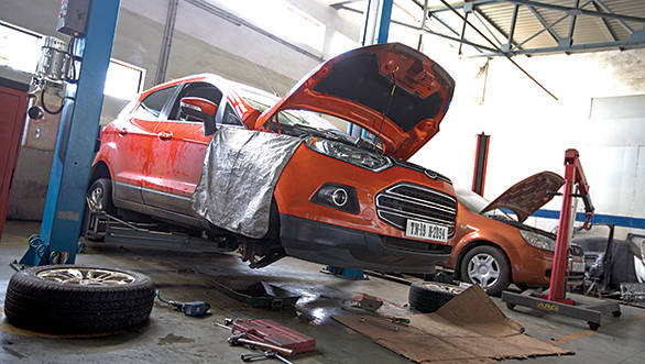 The EcoSport's ABS problems being tended to at Ford's Nagpur service station