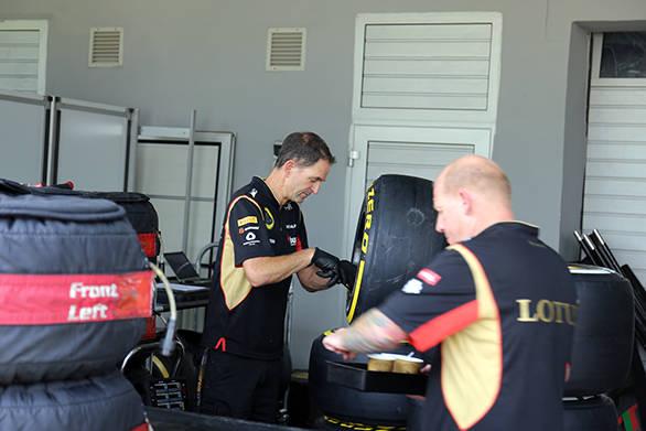 Lotus team personnel hard at work