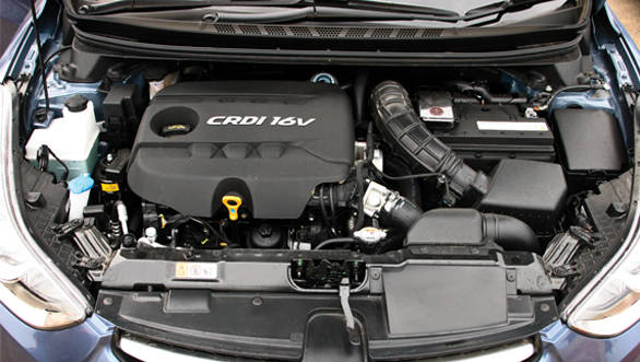 The Elantra features a smaller 1.6-litre CRDi motor borrowed from the Verna