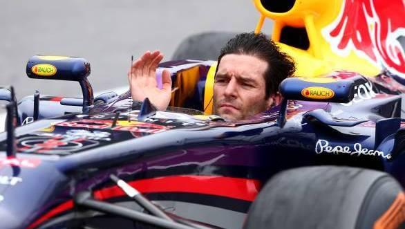 Mark Webber bids F1 farewell minus his helmet!