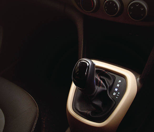 The Grand i10's automatic gear shift lever