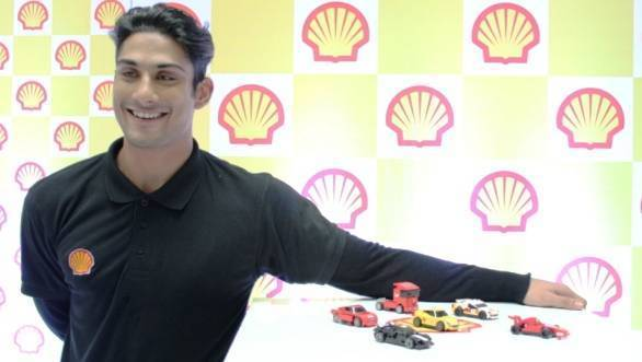 Actor Prateik Babbar with the Shell Lego collectibles