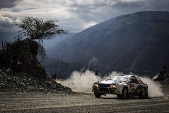 L Alayza and I Bromberg tackle the Rally Camino del Inca's dusty stages in their Toyota Corolla