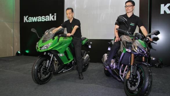 Yuji Horiuchi, managing director (left) and Shigeto Nishikawa, deputy MD India Kawasaki Motors Pvt Ltd launch the Ninja 1000  and Z1000 (R)