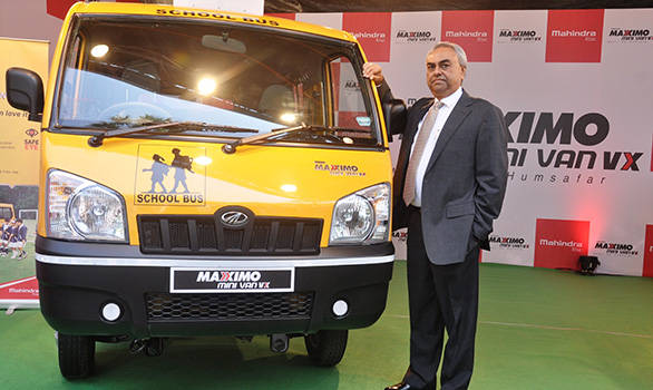 Pravin Shah, chief executive, automotive division of Mahindra with the Maxximo school bus