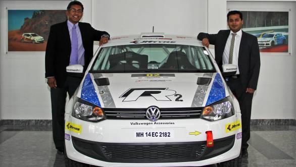 Newly appointed Head of Volkswagen Motorsport Sirish Vissa  (on the Left) & Prithviraj Siddappa (on the right)
