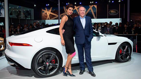 Actress-Priyanka-Chopra-with-Ian-Callum--Design-Director-Jaguar-at-The-Delhi-Auto-Expo-2014-(1)
