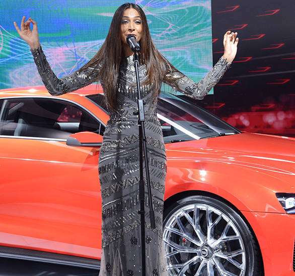 Singer-and-actress-Monika-Dogra-performing-at-Audi-Stand-in-Auto-Expo-2014