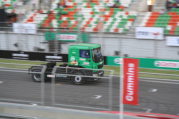 The trucks take to the track for the qualifying session that will decide the grid for the five lap sprint race