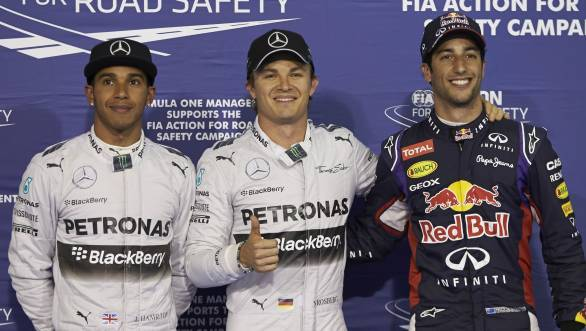 Rosberg pips team-mate Hamilton to pole at first ever F1 night race at Bahrain