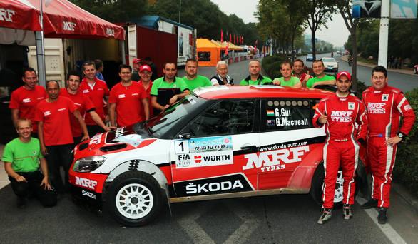APRC Champions - Gill and codriver Glenn Macneall with the Team MRF Skoda crew