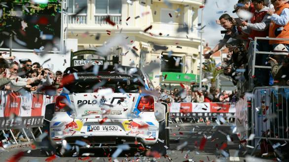 Celebration for the Volkswagen team as Sebastien Ogier claims victory at Rally Portugal