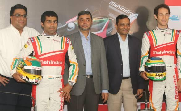 Dilbagh Gill, Karun Chandhok, SP Shukla, Pawan Goenka and Bruno Senna at the Mahindra Racing driver announcement