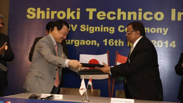 Arun Gupta, MD of Technico Industries Limited (right) with Shiroko Corporation's representative for the JV
