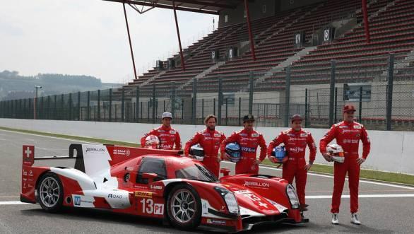 The drivers (Left to Right) Mathias Beche, Nick Heidfeld, Nicolas Prost, Fabio Leimer and Dominik Kraihamer