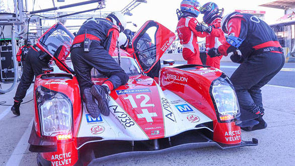 Toyota took pole position  after fending off Audi and Porsche in an intense qualifying session yesterday